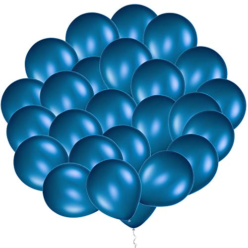 Eshanmu 100 pcs 12 inch Blue Pearl Latex Balloon for Boy Girl Party for Activity Campaign (Blue) ()