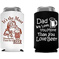 Christmas Stocking Stuffer Gift for Men Dad Husband Santa Beer Can Cooler - Set of 2