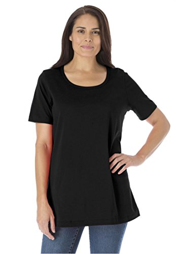 Women's Plus Size Perfect Scoop Neck Tee Black,3X