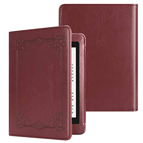 Fintie Folio Case for Kindle Paperwhite (Fits All-New 10th Generation 2018 / All Paperwhite Generations) - Book Style Vegan Leather Shockproof Cover with Auto Sleep/Wake, Vintage Maroon (Maroon Paperwhite Kindle Case)