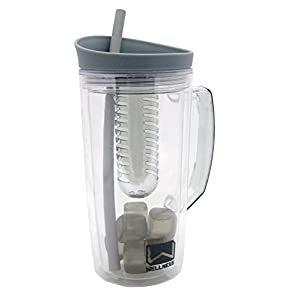 Wellness GRAY 34 oz Double Wall Fruit Infuser Sports Bottle w/ Reusable Ice Cubes, Straw, and Carrying Handle - BPA Free & Eco Friendly - Pitcher Style - Perfect for Work, School, Gym, and Travel