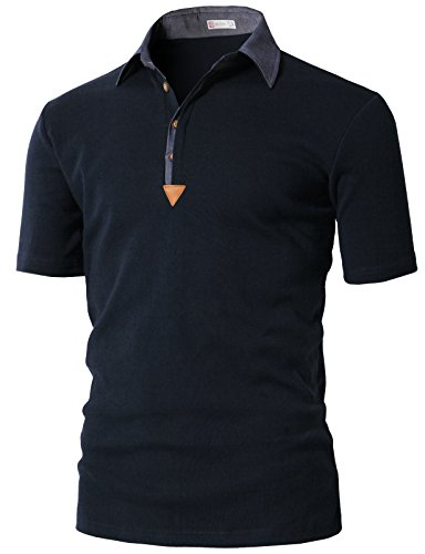 H2H Mens Spandex Slim Fit Short Sleeve Button Down Color Effect Collar Polo Shirts Navy US S/Asia M (KMTTS0553) ()