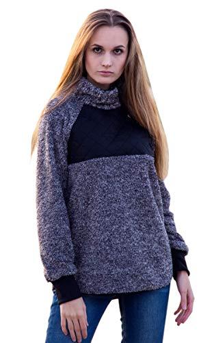 ECOWISH Women's Long Sleeves Oblique Button Neck Splice Geometric Pattern Fleece Pullover Coat Sweatshirts Outwear Top Black XL
