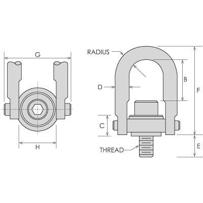 HHIP 8004-6912 Metric Standard U-Bar Safety Swivel Hoist Ring, Alloy Steel, 400 lb. Load Capacity, M8 x 1.25 Thread Size