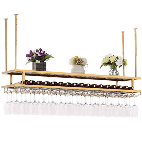 Bar/Pub Double Layer Wine Rack with Stemware Holder - Nordic Wall Hanging Wine Glass and Bottles Cabinet Organizers - Gold Iron Frame - Wall Ceiling Decor