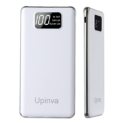 Upinva Portable Ultra Slim Power Bank with 2 USB Ports 10000mAh External Battery Charger with Smart LED Digital Display,Fast Charge for iphone Samsung Tablet and More Smartphone (White)