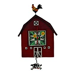 Allen Designs Resin Wall Clocks Red Barn Yard Wall Clock With Cow Shaped Swinging Pendulum 8.5 X 14.5 X 1.75 Inches Red