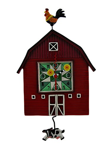 Allen Designs Red Barn Yard Wall Clock with Cow Shaped Swing