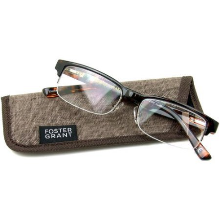 Foster Grant Bentley Tortoise Half-Rim Reading Glasses +1.75 with case