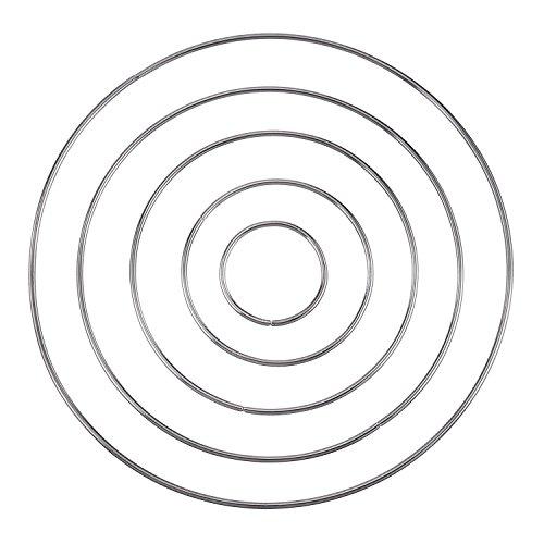 Chris.W 10 Pcs Metal Rings Craft Metal Hoops for Dream Catcher, Silver, 5 Sizes(5cm/7.5cm/10cm/13cm/15cm)