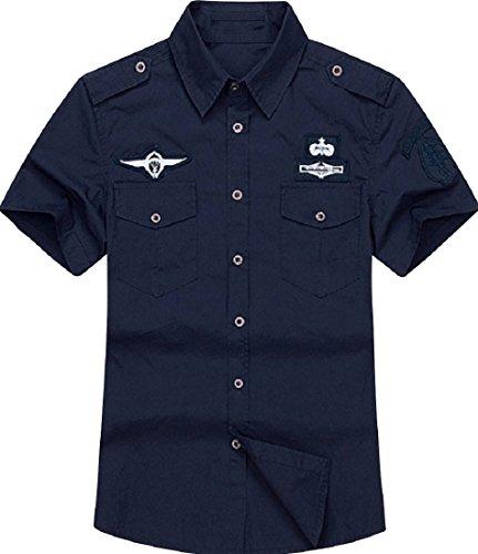 (アルファーフープ) α-HOOP メンズ カーゴ アウター ミリタリー 半袖 ボタン シャツ カットソー ジャケット 上着 QP-6…