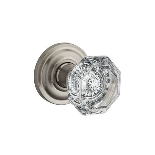 Baldwin Reserve PSCRYTRR150 Passage Crystal Knob with Traditional Round Rose Satin Nickel Finish