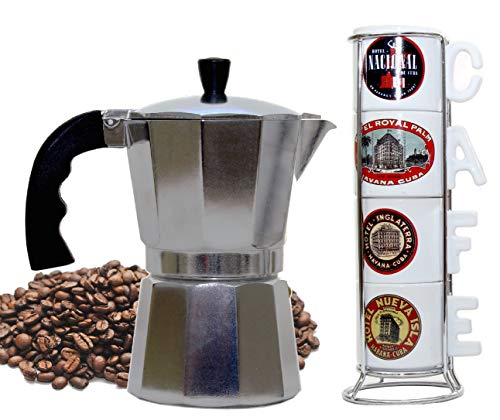 Imusa Cuban Espresso Coffee Maker 6-cup - Bundle with a Set of White Espresso Cups 3.5 Ounces and Metal Rack (Famous Hotels)