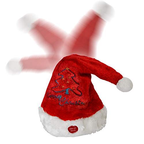BenefitUSA Plush Christmas Hat Singing Dancing Moving Santa Hat Moving Xmas Party Santa Cap