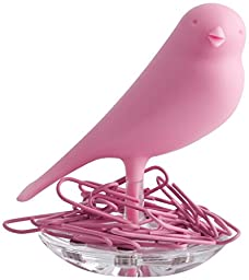 Qualy Nest Sparrow Paper Clip Holder - Pink