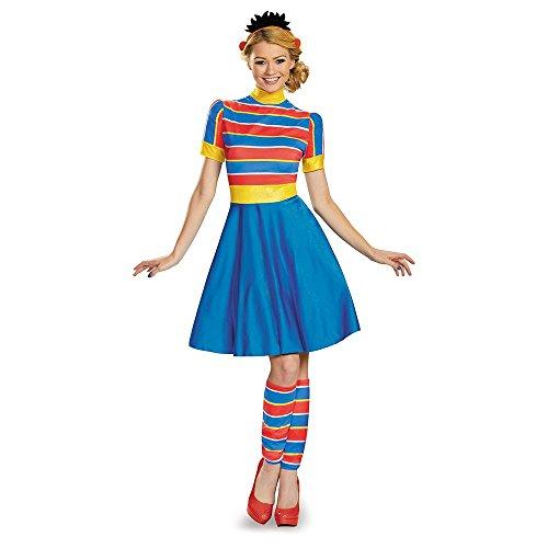 Bert Ernie Costumes Adults (Disguise Women's Ernie Ladies Costume, Multi,)