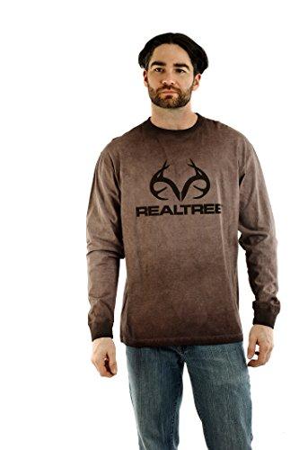 Bark Mens T-shirt - Realtree Men's Long Sleeve Pigment Dye Cotton T-Shirt (Bark, L)