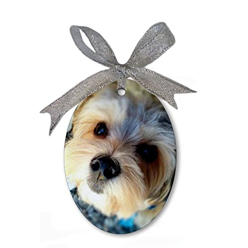 Morkie Love Custom Personalized Porcelain Oval Christmas Ornament Hanging Gift