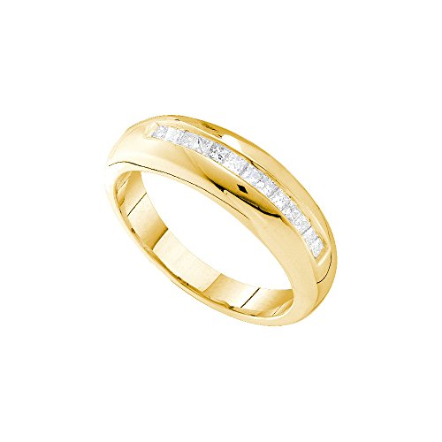 Jewels By Lux 14kt Yellow Gold Mens Princess Channel-set Diamond Wedding Band Ring 1/2 Cttw (I1-I2 clarity; H-I color) 14kt Gold Channel Set Band