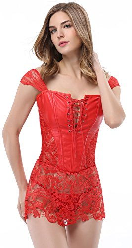 Bluland Women's Faux Leather Steampunk Corset Goth Lace up Front Bustiers Sexy Skirt XL Red