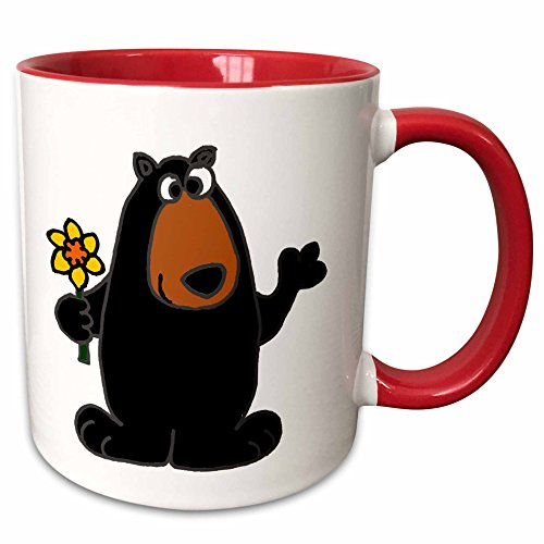 3dRose All Smiles Art Animals - Cute Black Bear holding Daffodil Flower - 15oz Two-Tone Red Mug (mug_196105_10) ()