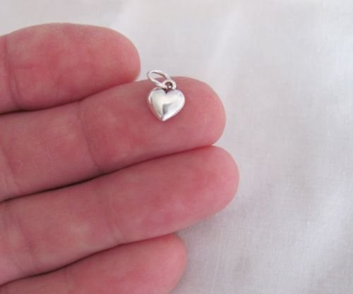 Small Sterling Silver Puffed Heart miniature charm.Jewelry Making Supply Charm, Bracelets and More by Wholesale Charms (Star Puffed Silver Sterling)