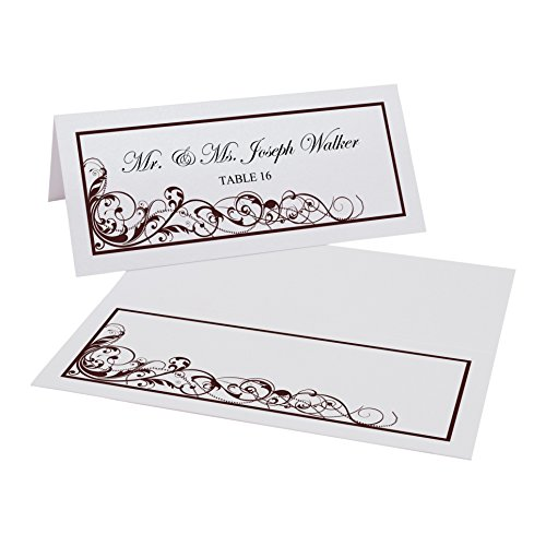 Documents and Designs Scribble Vintage Swirl Easy Print Place Cards, Pearl White, Chocolate, Set of 50 (13 Sheets)