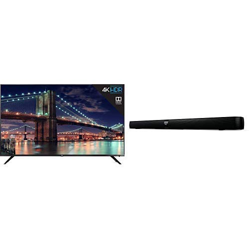 TCL 75R617 75-Inch 4K Ultra HD Roku Smart LED TV (2019 Model) and TCL Alto 7 2.0 Channel Home Theater Sound Bar with Built-in Subwoofer - TS7000, 36