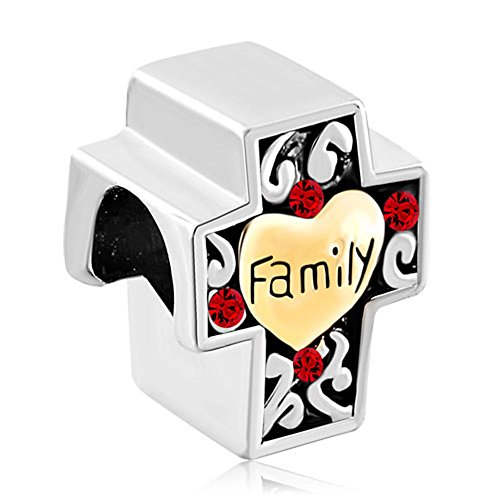 Family Bracelet Crystal - Pugster Red Swarovski Element Crystal Filigree Heart Love Family Cross Bead Fits Pandora Charms Bracelet