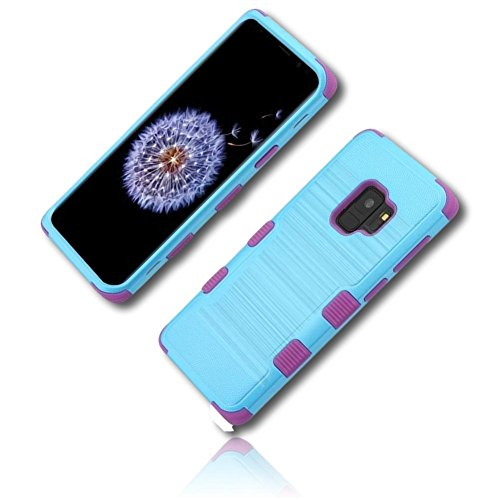 mySimple 3 Piece SECURE-Fit Rubberized Gel Hybrid Case w/2 Layered SHOCKPROOF Protection for Samsung Galaxy S9 w/Solid Colorful Lined Striped Barred Banded Brushed Textured Metallic ()
