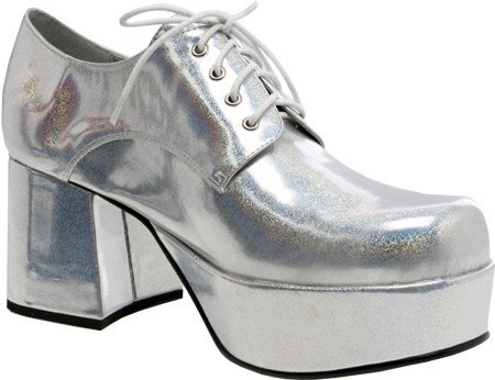 Pimp Adult Costume Shoes Silver - Small (Pimp Silver Costume)