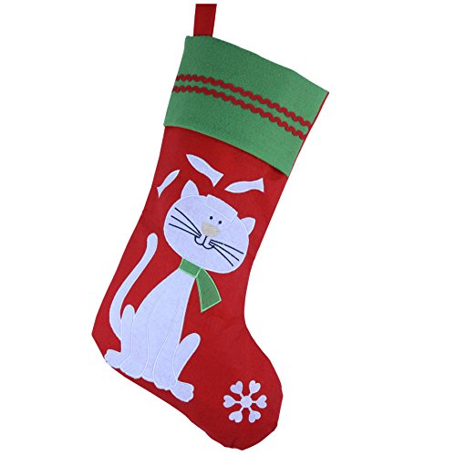 WEWILL Lovely Embroidered Pets Pattern Christmas Stockings Dog or Cat 16-Inch Length -