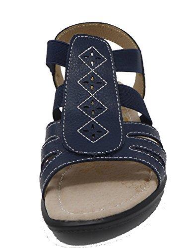 Marino Vestir Para De Mujer Sandalias Coolers Azul Piel 0IE4Eq