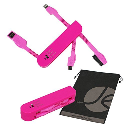 JAVOedge 3 in 1 Swiss Army Style Foldable Charging Cable for Lightning USB Cable, 30 Pin, and Micro USB (Pink)