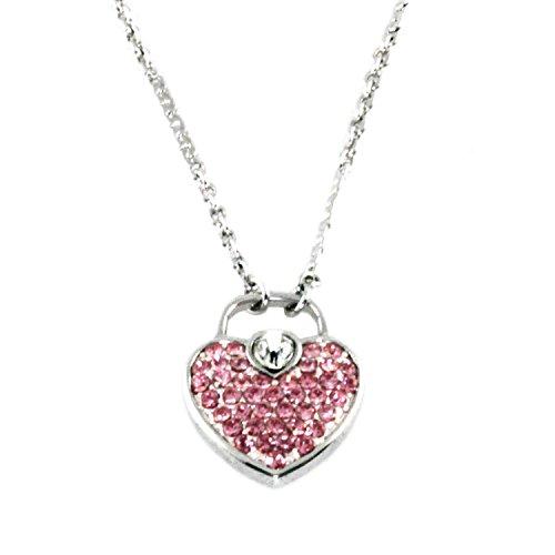 (Swarovski Elements Pink Heart Lock Charm Pendant Necklace )