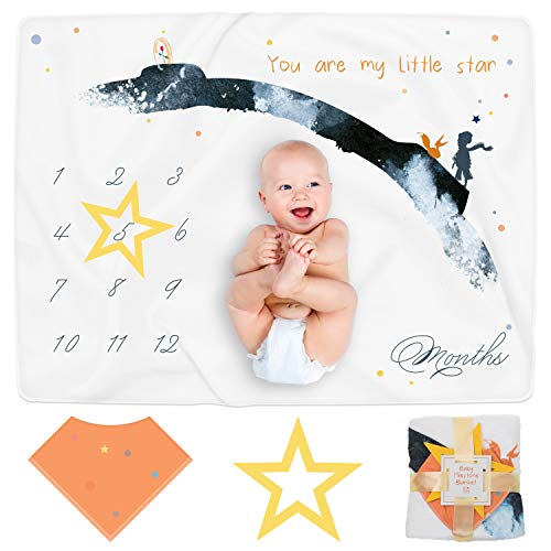 CUDYCOZY Baby Milestone Blanket and Monthly Milestone Photo Backdrop Cute Newborn Baby Keepsake Baby Blanket for Baby Boy and Baby Girl Thick Flannel Fleece and Soft Fabric