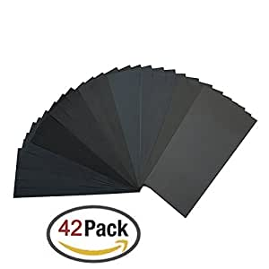 120 to 3000 Grit Sandpaper Assortment, Dry/ Wet, 9 x 3.6 Inch, 42 Pieces,Sand Paper for Automotive Sanding, Wood Furniture Finishing and Wood Turning Finishing