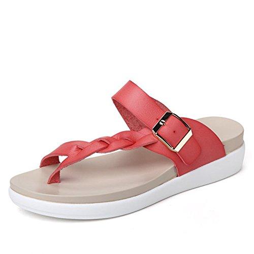 Minetom Damen Sommer Atmungsaktiv Flechten Sandalen T-Strap Slippers Flip Flops Rutschfest Flache Schuhe Zehentrenner Strand Rot