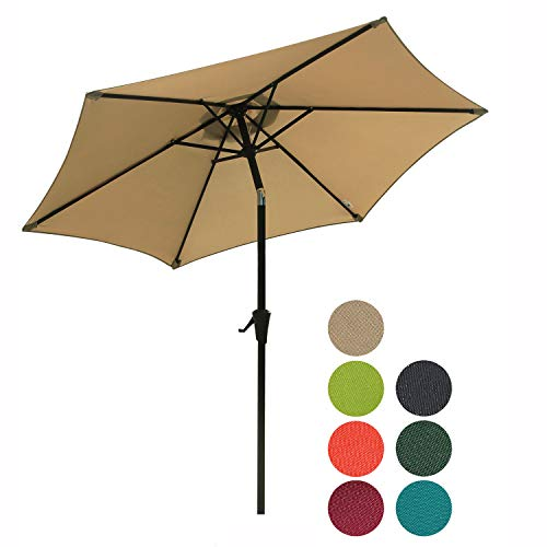 Patiorama 7.5 Feet Outdoor Patio Umbrella with Push-Button Tilt and Crank, 6 Ribs, Polyester Canopy, Beige