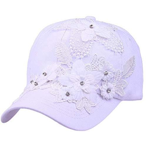 Girl Baseball Cap Summer Adjustable Lace Flower Rhinestone Embellished Golf Cap Snapback Hat for Women White