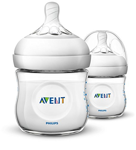 Philips Avent Natural Baby Bottle, Clear, 4oz, 2pk, SCF010/27 (Bottle Neck Wide Polypropylene)