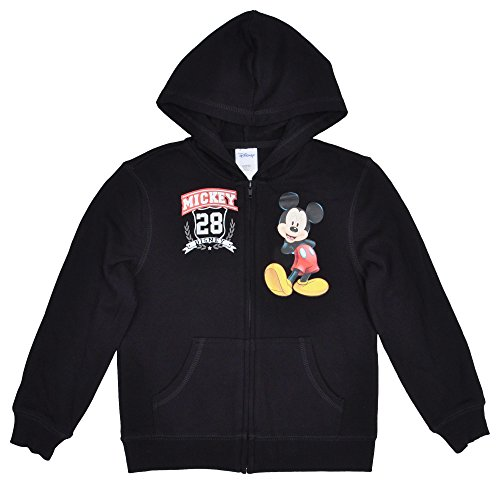 Disney Mickey Mouse Boys Youth Hoodie Zip Up Fleece Sweatshirt Jacket - XS (4/5) (Disney Sweatshirt Mickey)