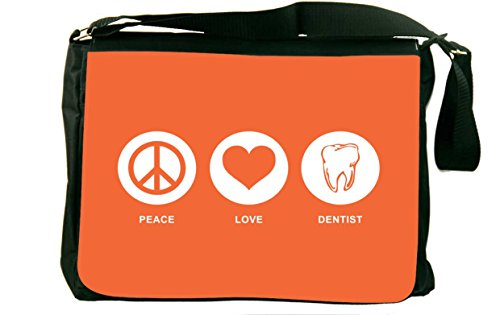 Rikki Knight Peace Love Dentist Orange Color Messenger Bag School Bag by Rikki Knight