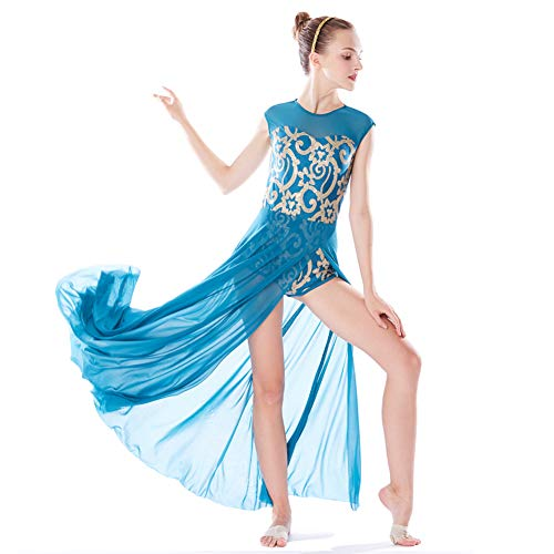 MiDee Lyrical Dress Dance Costume 4 Colors Floral Sequin Tank Leotard Maxi Skirt (XLA, Turquoise) ()