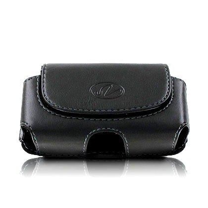 Premium Leather Horizontal Large Size Pouch Protective Carrying Cell Phone Case with Belt Clip and Belt Loops - Black