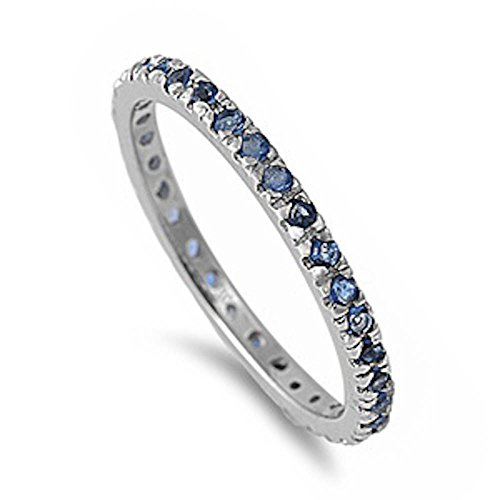 Stackable Simulated Sapphire Cubic Zirconia Eternityband .925 Sterling Silver Ring Size 12