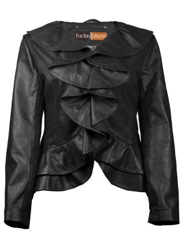 FE Ruffled Designer Leather Jacket Women in Black | Stylish Ladies Blazer Coat | Single-Breasted w Hooks