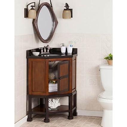 Amazon.com: Southern Enterprises Emery Corner Single Granite Top Bathroom  Vanity: Home U0026 Kitchen