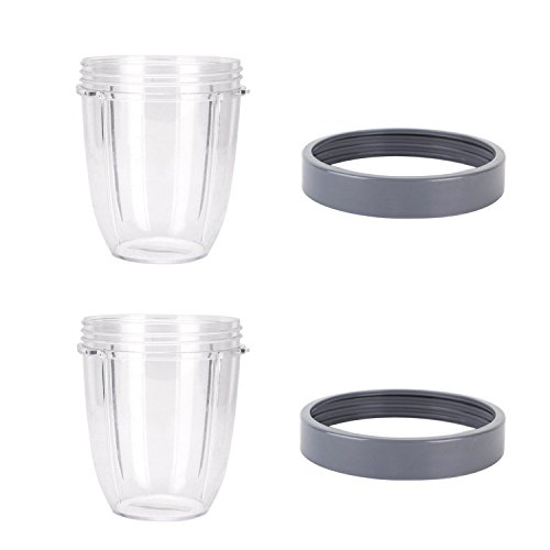 Blendin 2 Pack 18 Ounce Short Capacity Cup with Lip Rings, Fits Nutribullet Blenders by BLENDIN