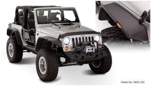 Bushwacker 10919-07 Jeep Flat Style Fender Flare - Set of 4 ()